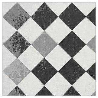 B&W Grunge Checkered Pattern Fabric