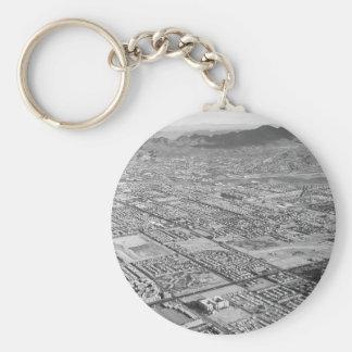 B&W Las Vegas Basic Round Button Keychain