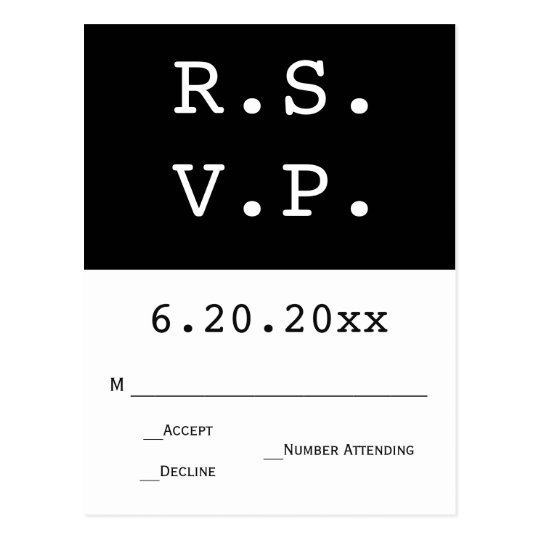 B&W Modern halves wedding RSVP cards