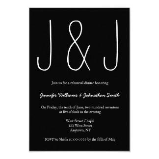B&W monogram rehearsal dinner invitations
