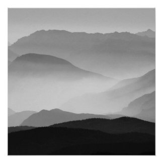 B&W Mountains Poster