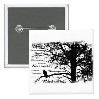 B&W Nevermore Raven Silhouette 2 Inch Square Button