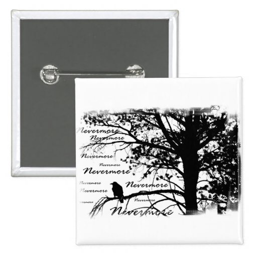 B&W Nevermore Raven Silhouette Pinback Buttons