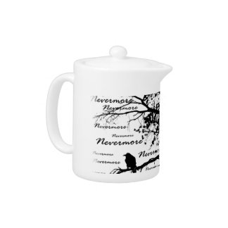 B&W Nevermore Raven Tree Silhouette - E.A. Poe