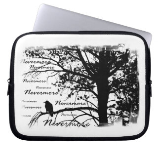 B&W Nevermore Raven Tree Silhouette - E.A. Poe Computer Sleeves