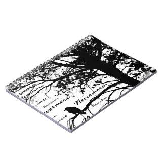 B&W Nevermore Raven Tree Silhouette - E.A. Poe Spiral Notebook