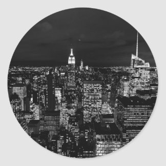 B&W New York City Round Sticker