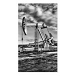 B/W Oil Well Pumping Unit Business Card Business Card Templates