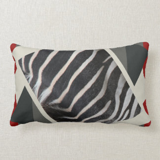 B&W on red, with a touch of Zebra Print for fun! Lumbar Pillow