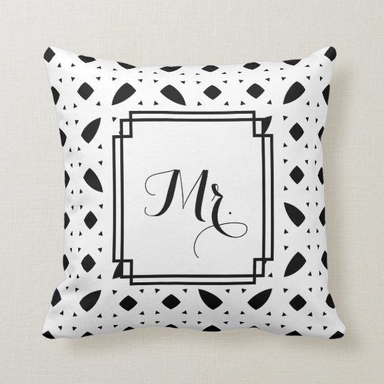 "B&W Patterned ""Mr"" Wedding Throw Pillow"