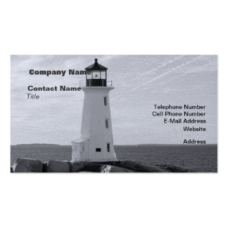 B&W Peggy's Cove Lighthouse Business Card
