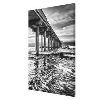 B&W pier at dawn, California Canvas Print