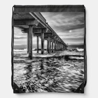 B&W pier at dawn, California Drawstring Bag