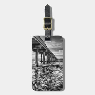 B&W pier at dawn, California Luggage Tag