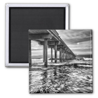 B&W pier at dawn, California Magnet
