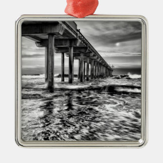 B&W pier at dawn, California Metal Ornament