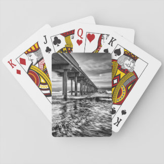 B&W pier at dawn, California Playing Cards