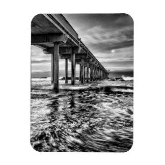 B&W pier at dawn, California Rectangular Photo Magnet