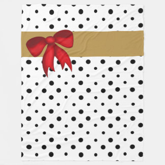 B&W polka dots w gold ribbon and red bow Fleece Blanket