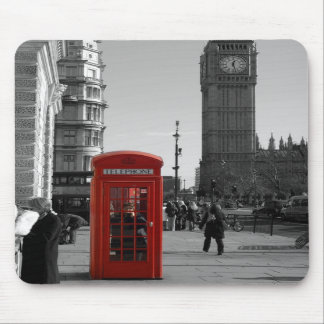 B/W Red London Telephone Box Mousepad