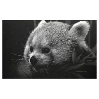 B&W red panda Fabric