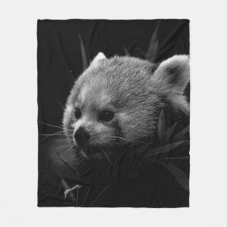 B&W red panda Fleece Blanket