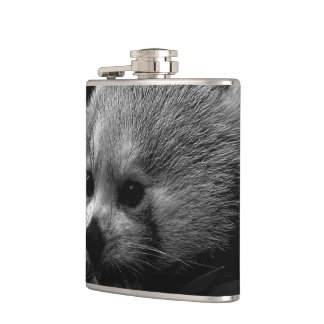 B&W red panda Hip Flask