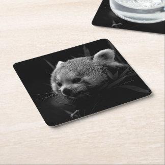 B&W red panda Square Paper Coaster