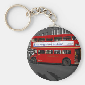 B/W Red Tinted London Red Bus Keychain