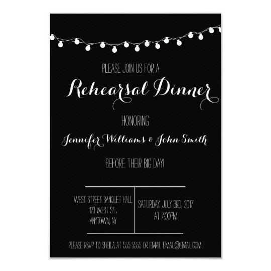 B&W Rehearsal Dinner Invitations