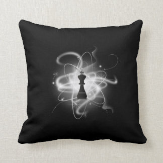 B&W Retro Atomic Chess Piece - King Throw Pillow