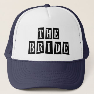 B&W Retro Stamp - The Bride Trucker Hat