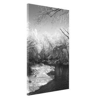 B&W River Scene - Stretched Canvas Print
