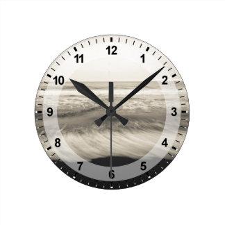 B&W seascape, Hawaii Wall Clocks