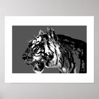 B&W Siberian Tiger Pop Art Poster Print