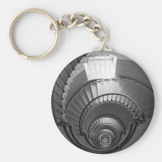 B&W spiral lighthouse staircase Keychain