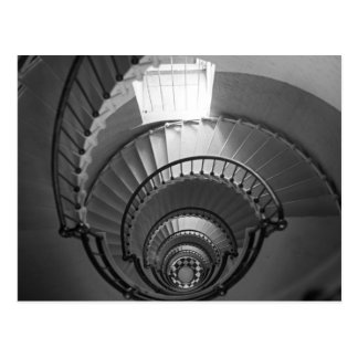 B&W spiral lighthouse staircase Postcards