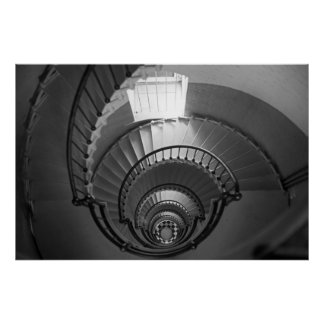 B&W spiral staircase Poster
