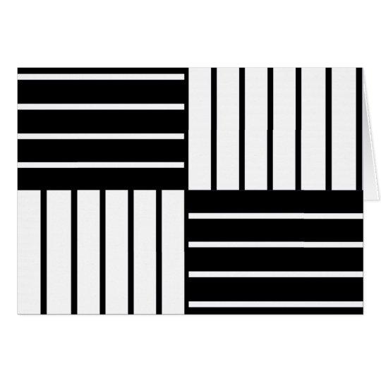 B&W Striped Squares Card