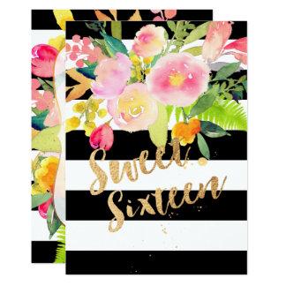 B+W Stripes, sweet 16, Watercolor Spring Flower Card