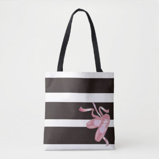 B/W Stripes with 3D Pink Ballet Pointe Shoes Tote Bag