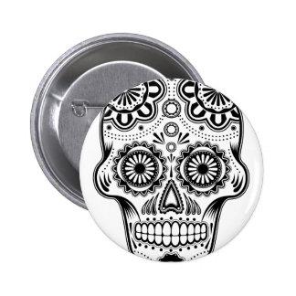 B&W Sugar Skull 2 Inch Round Button