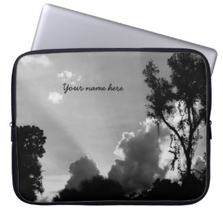 B&W Sun Rays at Sunset Laptop Sleeves