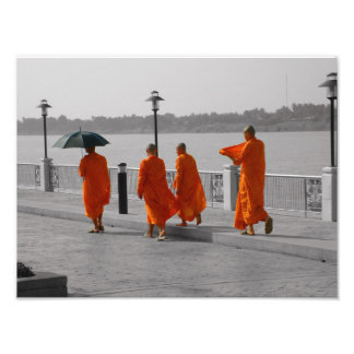 B&W Thai Buddhist Monks Walking Photo Print