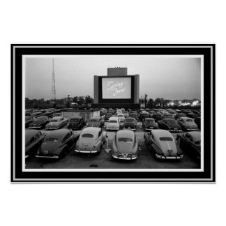 B &W Vintage Drive-In Theater Poster 13 x 19