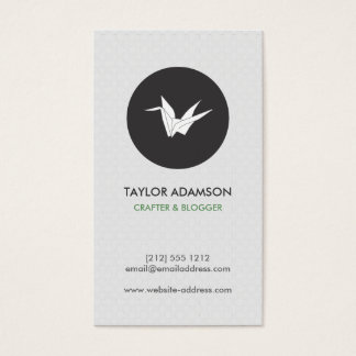 B&W Vintage Patterned Origami Crane Business Card