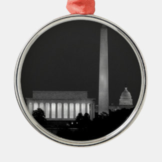 B&W Washington DC 3 Silver-Colored Round Ornament