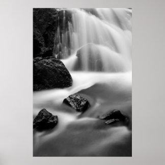 B&W waterfall, California Poster