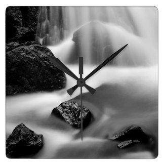 B&W waterfall, California Square Wall Clock