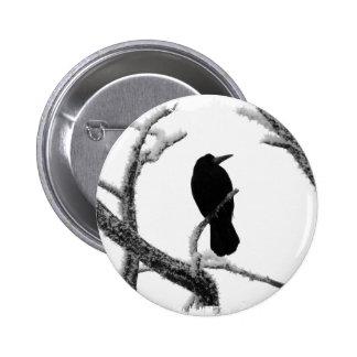 B&W Winter Raven Edgar Allan Poe 2 Inch Round Button